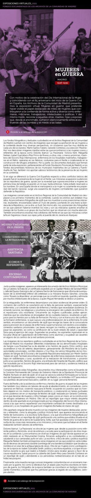 La Comunidad de Madrid presenta la exposición virtual 'Mujeres en guerra'
