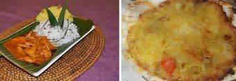 Tikka masala y vieira rellena en su concha