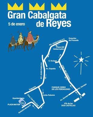 Recorrido de la Cabalgata de Reyes en Pozuelo de Alarcón.
