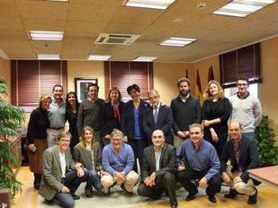 Los periodistas con Susana Pérez Quislant, Félix Alba y los compañeros del Gabinete de Prensa, Laura y Pablo.