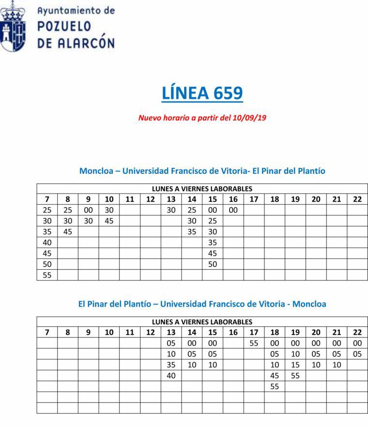 El Ayuntamiento de Pozuelo de Alarcón y el Consorcio Regional de Transportes anuncian la ampliación de la línea 659