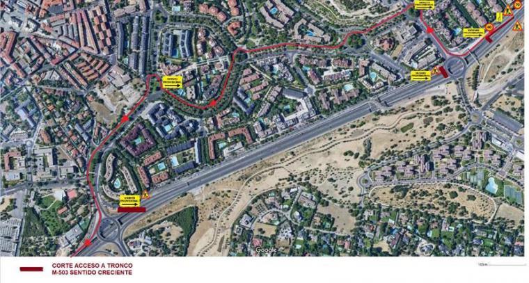 El Ayuntamiento informa de un nuevo corte de tráfico en el tramo de la M-503 entre las rotondas de Av. Pablo VI y la de Ctra. de Húmera por la colocación de la nueva pasarela