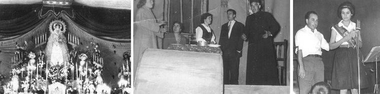 La Patrona de Pozuelo (Años 40), representación teatral (Años 50) y coronación de la Reina de las Fiestas (Años 60) en La Inseparable. Fotos: Asociación Cultural La Poza (publicadas en 'El despertar de la memoria').