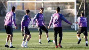 Cristiano se entrena con el grupo este lunes en Valdebebas