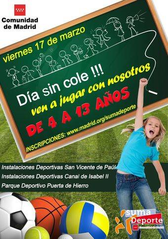 17 de marzo, cuarta jornada de 'Día sin cole' del curso escolar