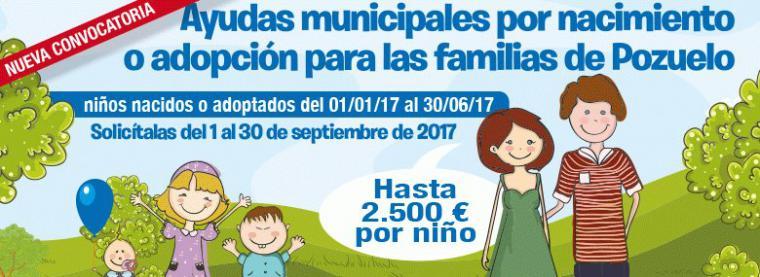 Ayudas municipales por Nacimiento o Adopción para las familias de Pozuelo