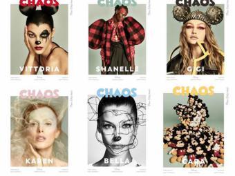 Las modelos Gigi Hadid, Bella Hadid y Karen Elson rinden homenaje a Mickey Mouse en la edición especial de la revista Chaos Magazine