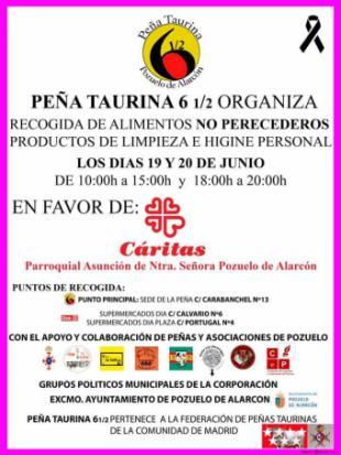 La Peña taurina Seis y Medio de Pozuelo de Alarcón pone en marcha una gran campaña de recogida de productos no perecederos