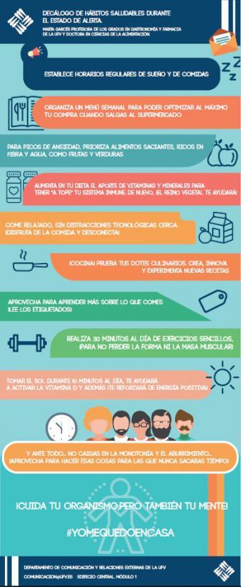 Decálogo de hábitos saludables durante el estado de alerta (confinamiento), por Marta Garcés, doctora en Ciencias de la Alimentación