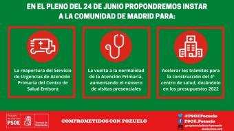 El PSOE de Pozuelo pide la reapertura de las urgencias y una mayor presencialidad en los centros de salud