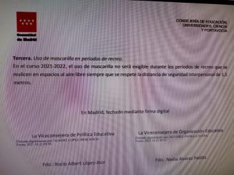 """Mascarilla en los recreos: CCOO acusa a Ayuso de """"endosar su responsabilidad' al personal educativo"""