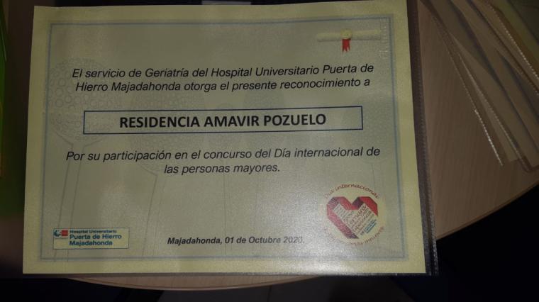 Los residentes de Amavir Pozuelo ganan el concurso de relato corto del Hospital Universitario Puerta de Hierro