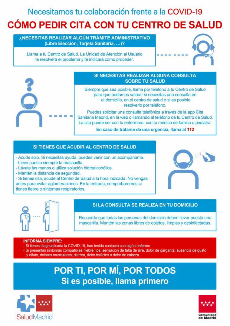 La Comunidad pone en marcha una campaña para informar a los madrileños sobre la atención en los centros de salud ante el COVID-19