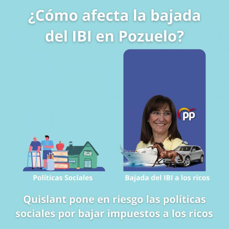 Según PSOE Pozuelo, Quislant pone en riesgo las políticas sociales por bajar impuestos a los ricos