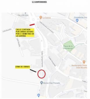 El Ayuntamiento de Pozuelo de Alarcón informa de cortes de tráfico los días 27 y 28 de abril en la calle Campomanes