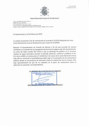 La Junta Electoral da la razón a la Asociación Cívica de Vecinos por Pozuelo frente al Ayuntamiento de Pozuelo de Alarcón