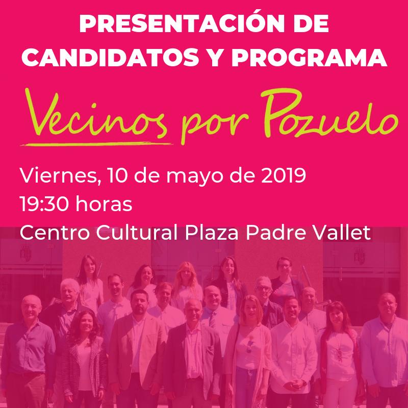 Vecinos por Pozuelo de Alarcón hará la presentación de su candidatura y programa el próximo 10 de mayo