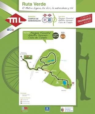 Nueva Ruta Verde para recorrer a pie o en bicicleta desde la línea de MLO de Aravaca