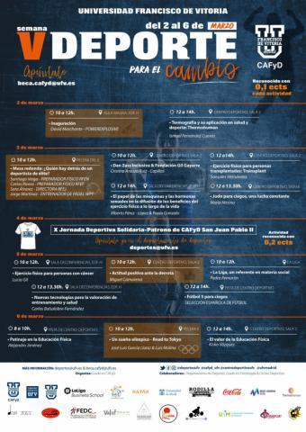La Universidad Francisco de Vitoria (Madrid) organiza la V Semana del Deporte para el Cambio con el objetivo de concienciar y sensibilizar a los universitarios de la importancia del deporte y el ejercicio físico en la salud
