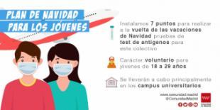 La Comunidad de Madrid instalará siete puntos de test de antígenos para jóvenes a la vuelta de Navidad