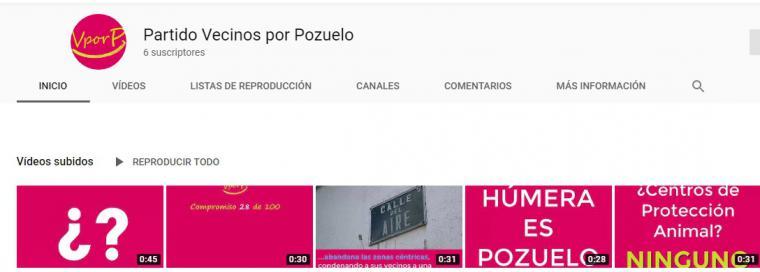 El partido de Vecinos por Pozuelo abre un canal de Youtube con todos sus vídeos de campaña.