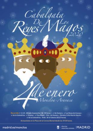 Cabalgata de los Reyes Magos por las calles de Aravaca.