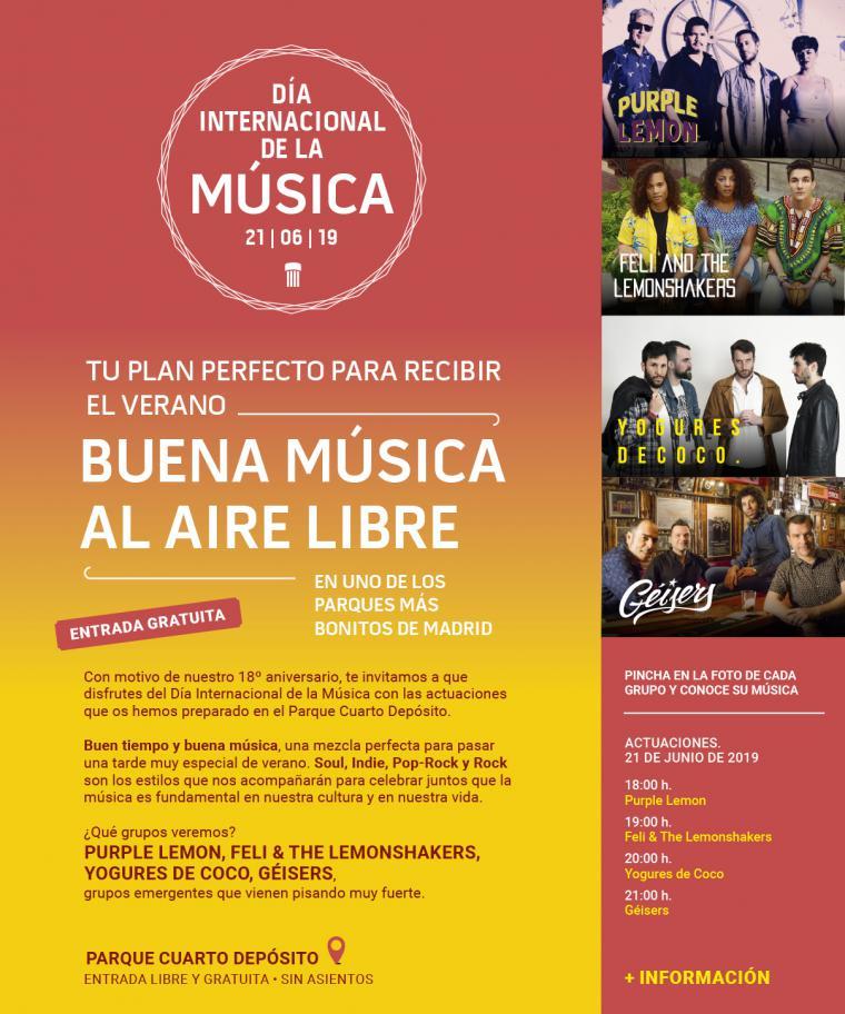 Actuaciones musicales gratuitas al aire libre en el Día Internacional de la Música
