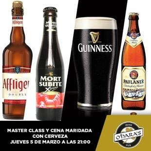 Catas de cerveza con Maridaje en O´Hara´s