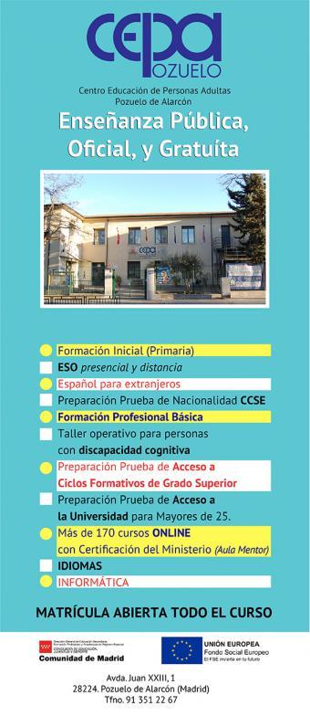 El Centro de Educación de Personas Adultas de Pozuelo de Alarcón, CEPA Pozuelo, continúa el periodo de matrícula para el curso escolar 2019-2020 .