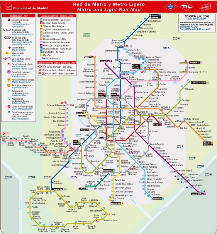 Red de Metro y Metro Ligero de Madrid  En Pozuelo